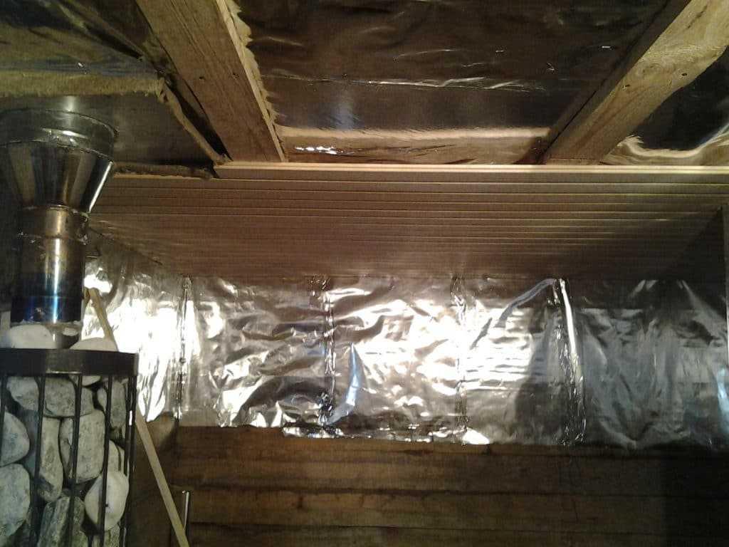 утепление потолка в парилке бани