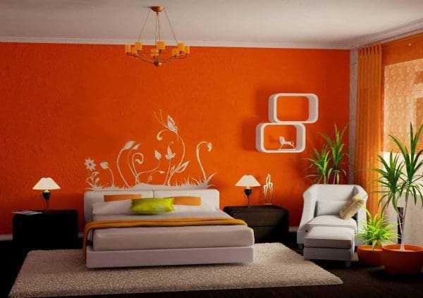 Апельсиновые обои в спальне