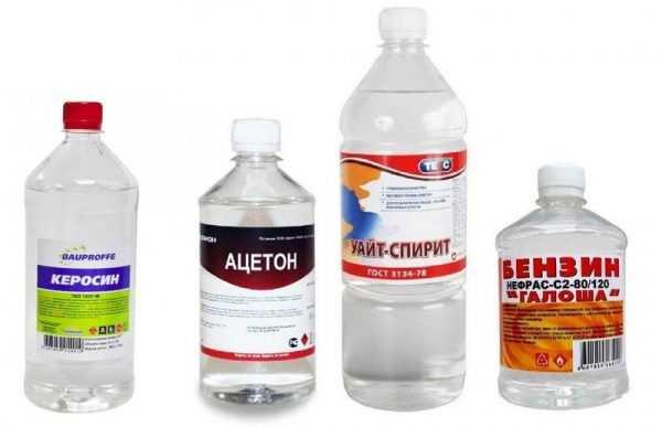 Керосин, бензин, ацетон и уайт-спирит