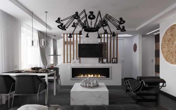Черная люстра в интерьере гостиной