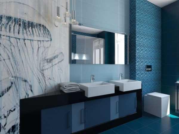 Черные элементы в дизайне ванной