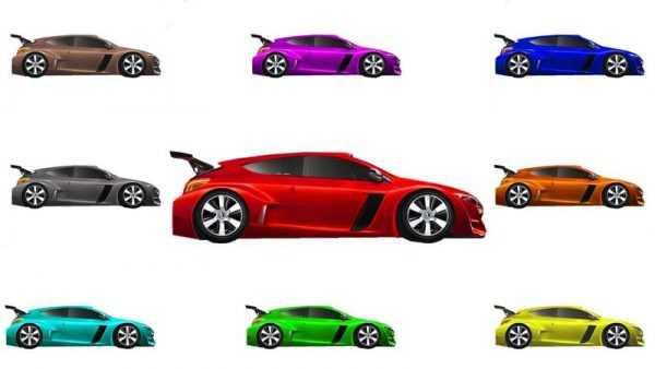 Автомобили разных оттенков