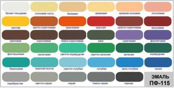 Цветовой ассортимент эмали ПФ-115