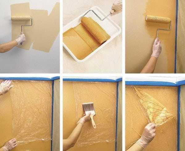 Декоративная покраска целлофановым пакетом
