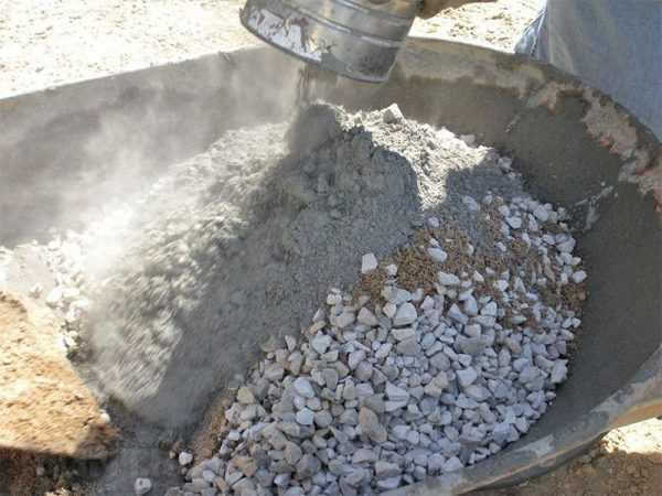 Состав для дренажного бетона - щебень, цемент и вода