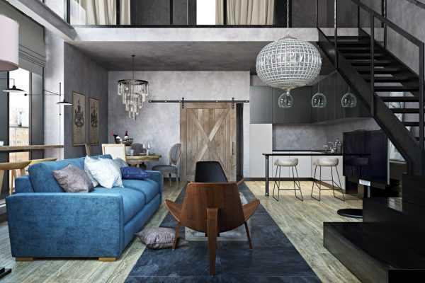 Синий диван в лофте
