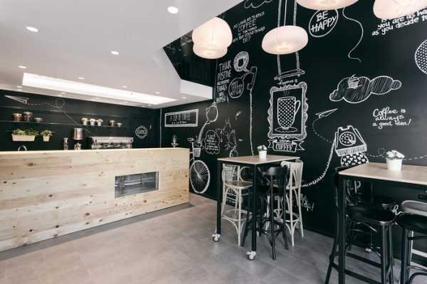 Грифельная стена в интерьере кафе