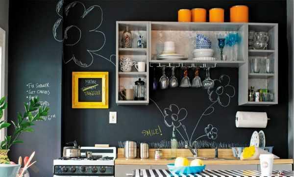 Грифельная краска часто используется при оформлении кухни