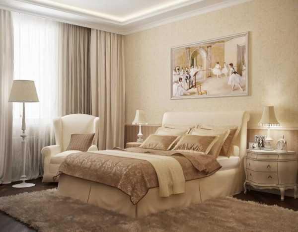 Интерьер спальни в теплых оттенках