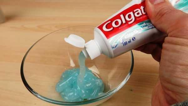 Использование зубной пасты для изготовления слайма