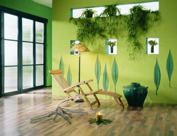 Оттенки зеленого хорошо подхдят к эко-стилю