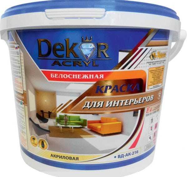 ВД-АК-216 для интерьеров моющаяся белоснежная Dekor