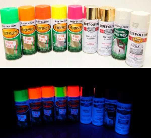 Эффект краски при свете и в темноте