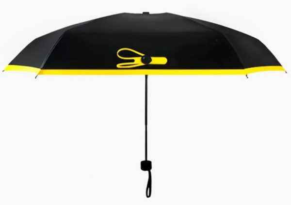 Маленький черный складной зонт от дождя