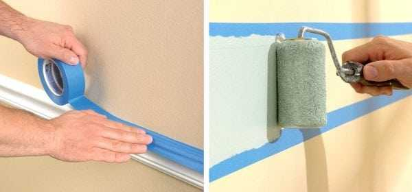 Использование малярного скотча при покраске стен