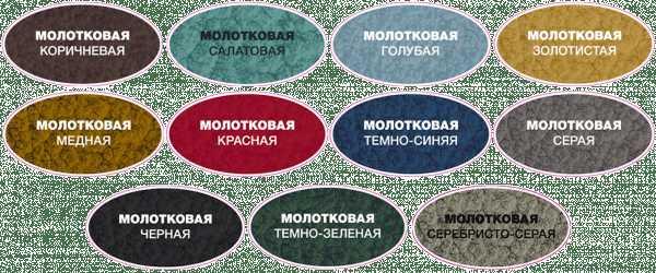 Разнообразие цветов молотковой краски для разных поверхностей
