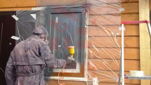 Напыление эмали на ПВХ окна