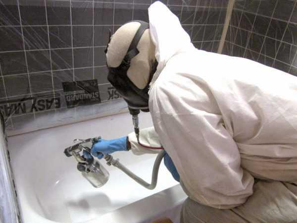 Напыление нового покрытия на ванну