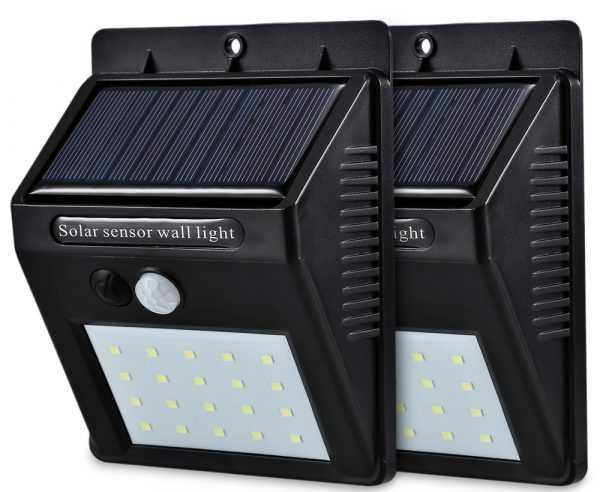 Настенный светильник с датчиком движения и солнечной батареей