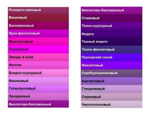 Названия различных оттенков фиолетового цвета