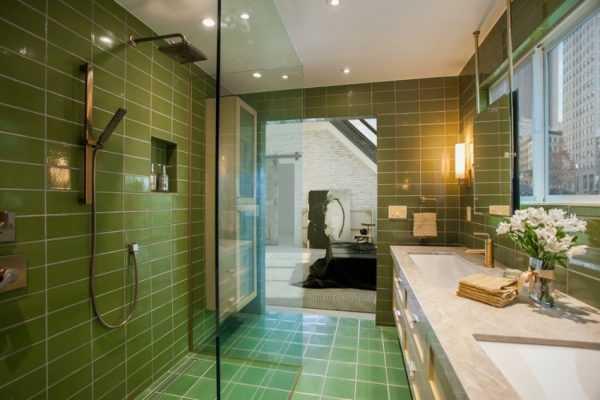 Оливковый цвет в ванной