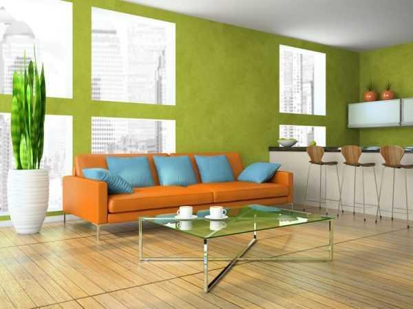 Сочетание оранжевого со светло-зелеными тонами