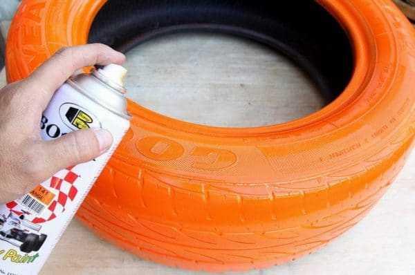 Покраска шины из баллончика