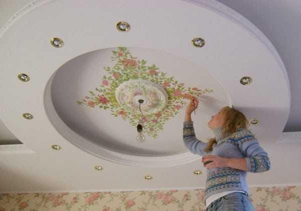 Художественная роспись тканевых потолков