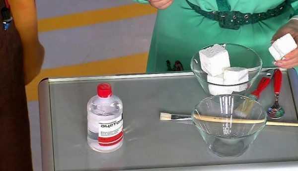 Растворение пенопласта ацетоном