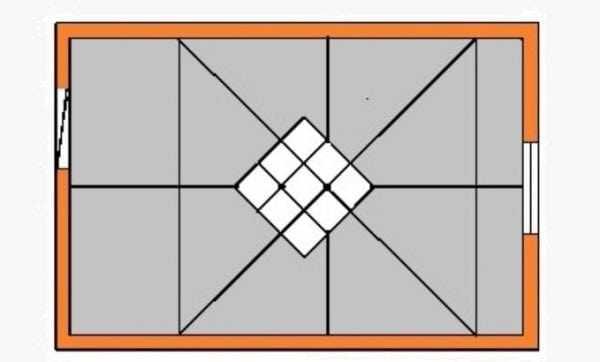 Диагональное приклеивание плитки