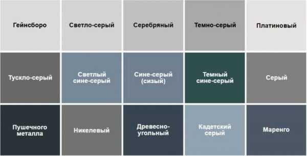 Разновидности серых тонов