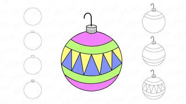 Порядок раскрашивания новогоднего шарика
