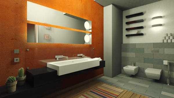 Серо оранжевая ванная комната