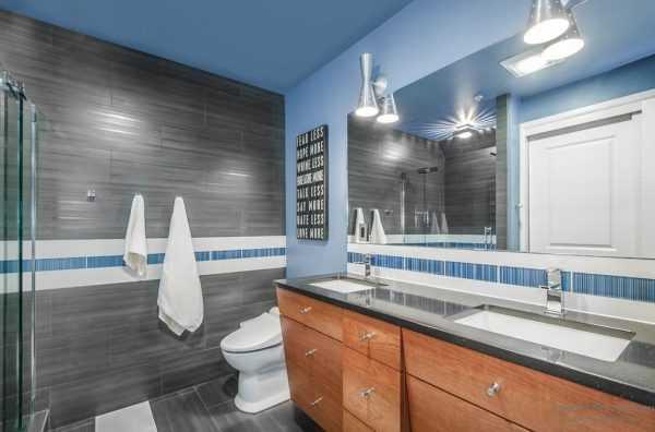 Серо-синяя ванная комната