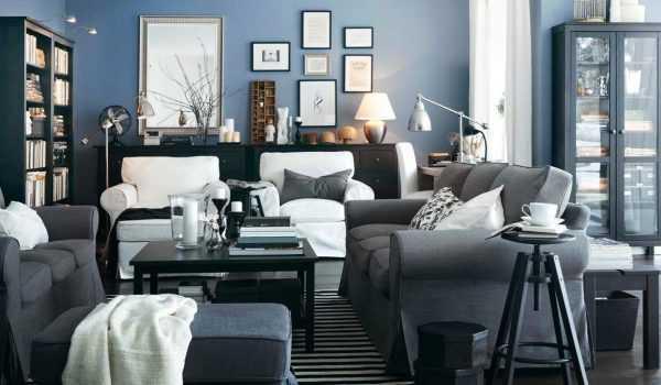 Сочетание серого и синего в интерьере
