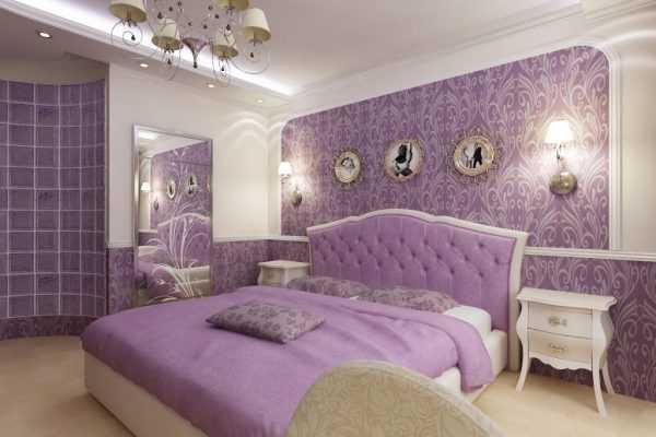 В спальной комнате обычно используют светлые оттенки сиреневого