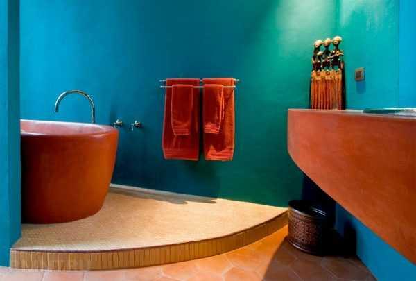 Терракотовый в ванной комнате