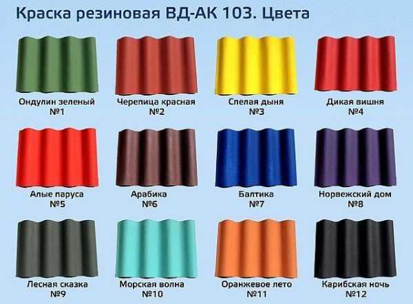 Линейка цветов резиновой краски
